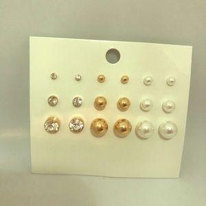 H&M FAUX DIAMOND PEARL STUD SET NWT